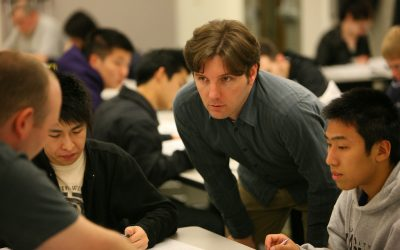 """Peter Littig, Assistant Professor, Science and Technology, UW Bothell, with students"""