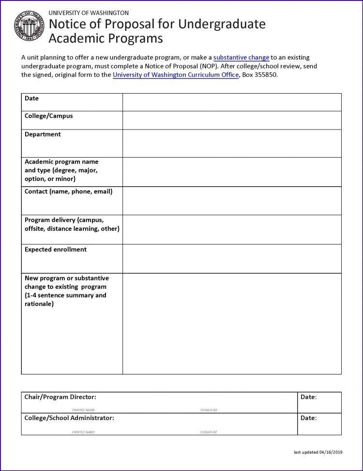 Undergraduate Notice of Proposal Form Quick Guide | Office