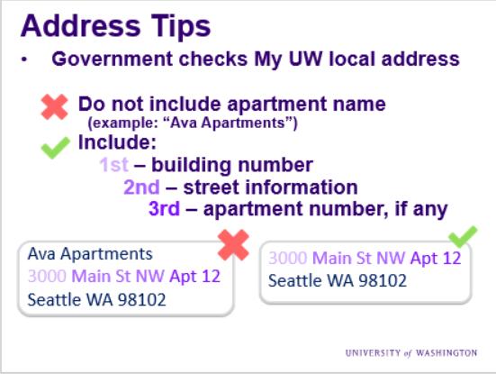 Local address update tips