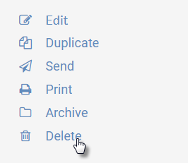 """Image of right-hand menu in the agendas feature of UW CM, highlighting the """"Delete"""" link"""