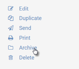 """Image of right-hand menu in the agendas feature of UW CM, highlighting the """"Archive"""" link"""