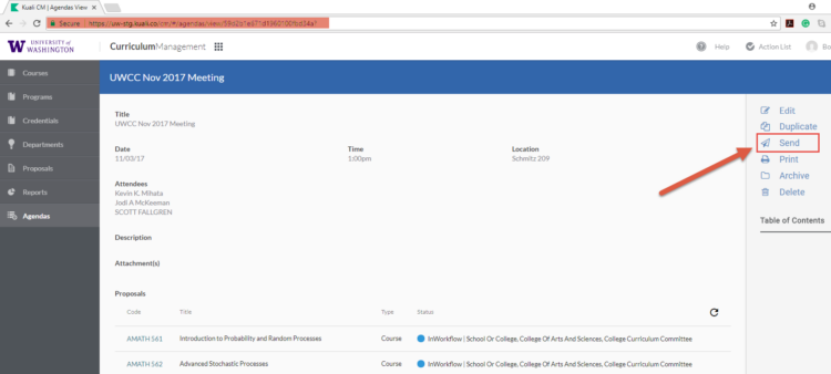 "Image of the ""Send"" button to send the agenda in UW CM"