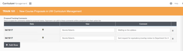 Image of proposal tracking comments fields in new course proposal interface