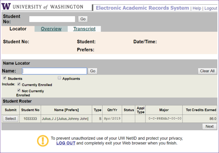 EARS locator screen showing student record search result