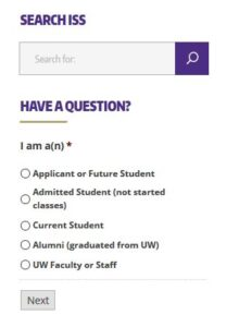 "Image of the ""Have a Question?"" form on the ISS website"