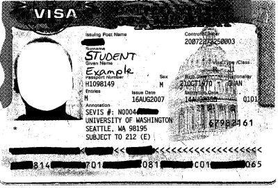 Image of sample J-1 visa