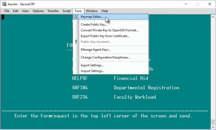 Image of Keymap Editor option under the Tools menu in SDB