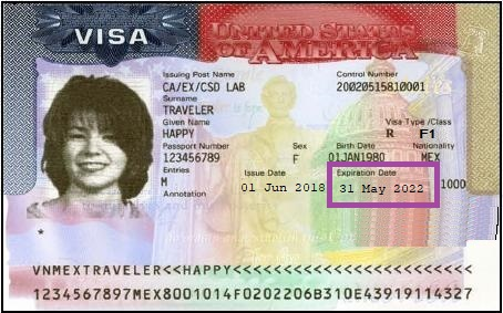 Image of sample F-1 visa