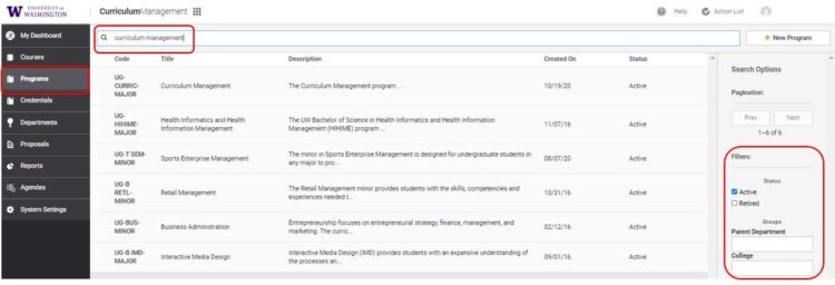 Find Program or Credential screen
