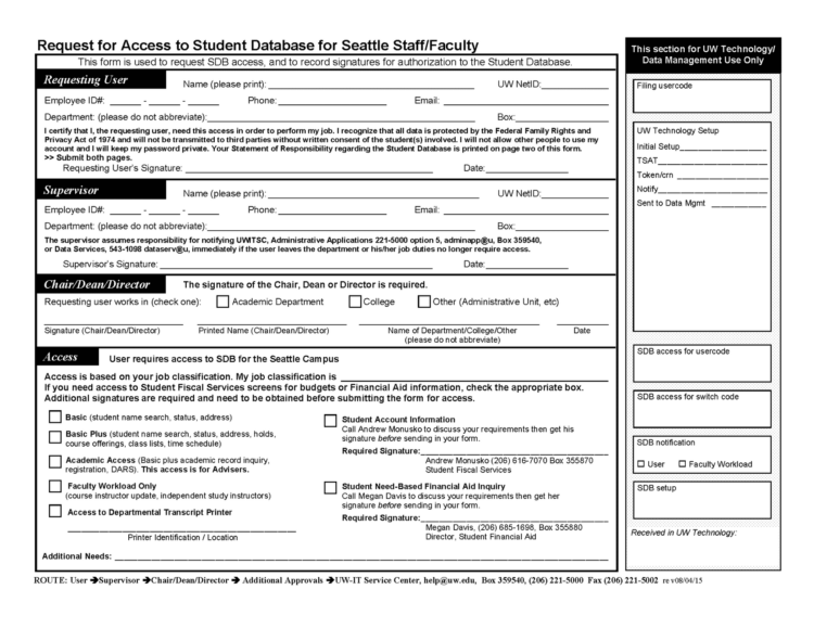 Image of UW Seattle SDB access request form