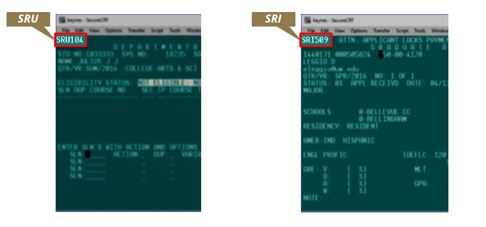 Side-by-side comparison of an SDB update screen on the left and an SDB informational screen on the right