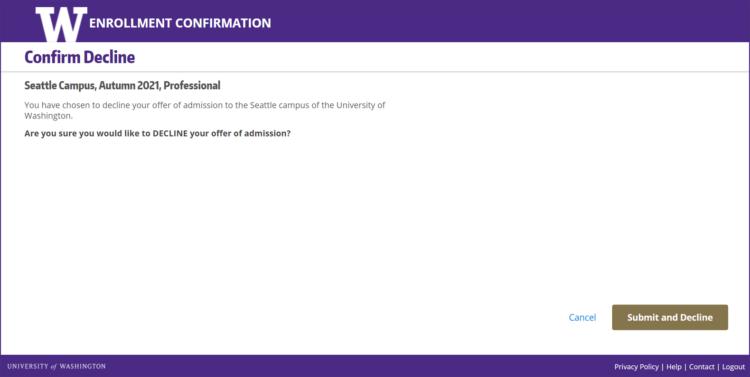 Enrollment Confirmation System confirm decline screen
