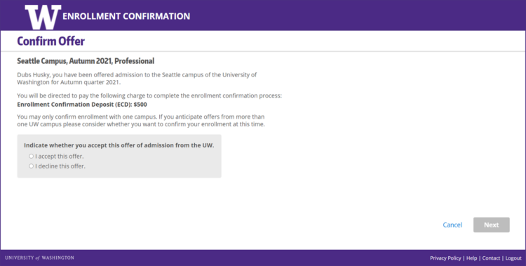 Enrollment Confirmation System offer confirmation screen