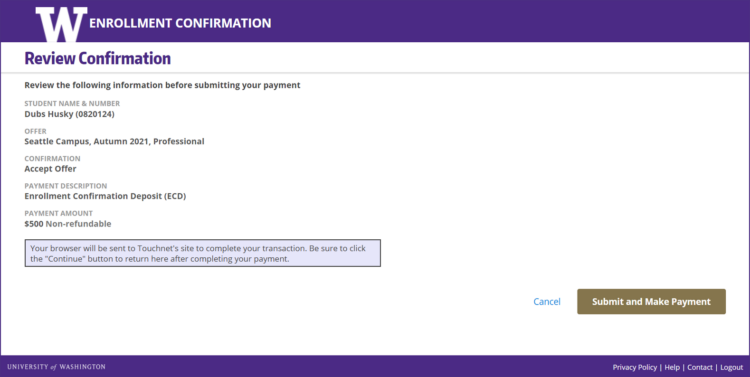 Enrollment Confirmation System review confirmation screen