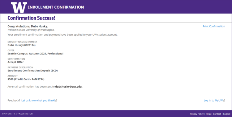 Enrollment Confirmation System successful confirmation screen