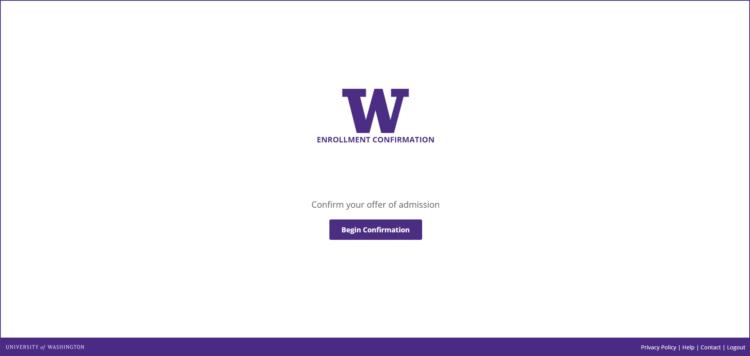Enrollment Confirmation System begin confirmation screen