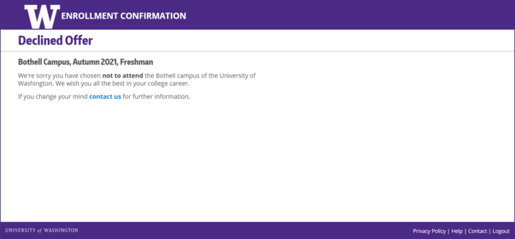 Enrollment Confirmation System declined offer confirmation screen