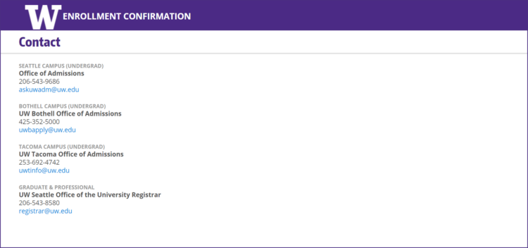 Enrollment Confirmation System contact information screen