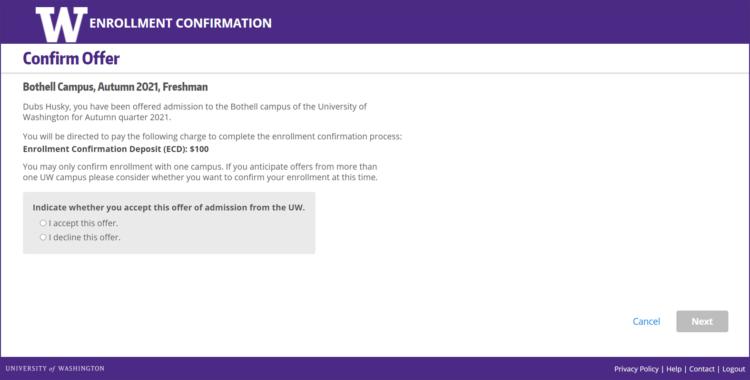 Enrollment Confirmation System offer confirmation screen