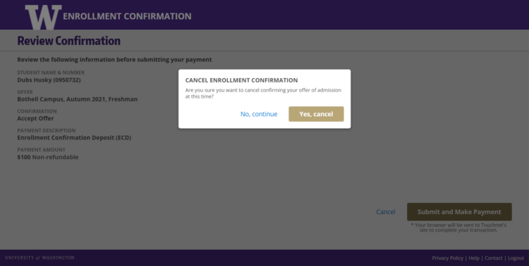 Enrollment Confirmation System cancel enrollment confirmation screen