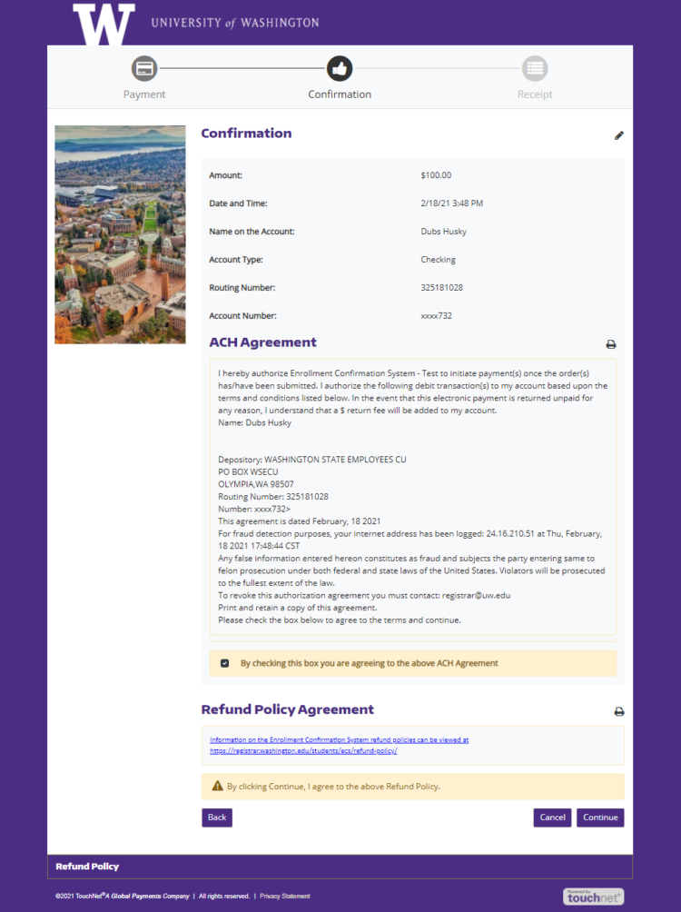 TouchNet confirmation and refund policy agreement screen - click Continue to submit payment